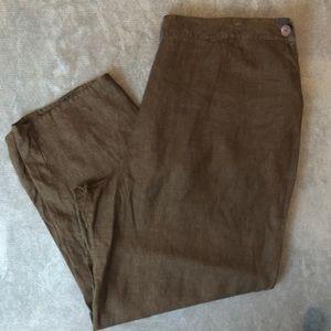 ⬇️ 42 Flax Linen Pants Wide Leg Brown Elastic 3G